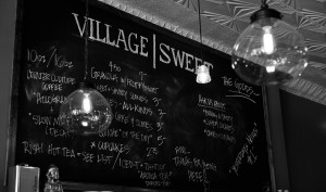 This is a photo of the chalboard menu at Village Sweet Bakery